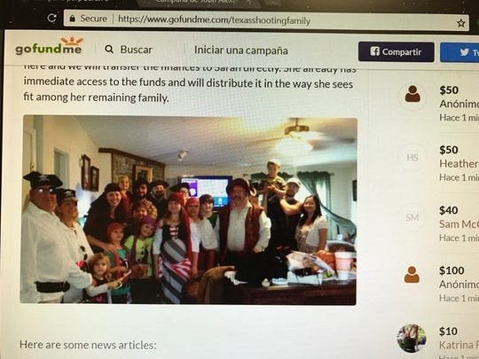 A GoFundMe account was created for the Holcombe family. Bryan Holcombe was preaching at First Baptist Church of Sutherland Springs on Sunday, Nov. 5, 2017.