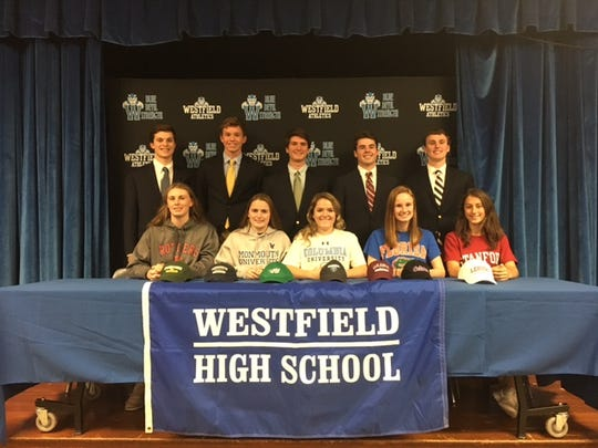 Front row left to right: Westfield's Whitney Shyposh, Muriel Maloney, Sydney Paoletti, Catherine Moriarty and Natalie Bond. Back row left to right: Sam Pugliese, Eric Bebel, Ryan Bebel, Luke Hunziker and Pat McIlroy.