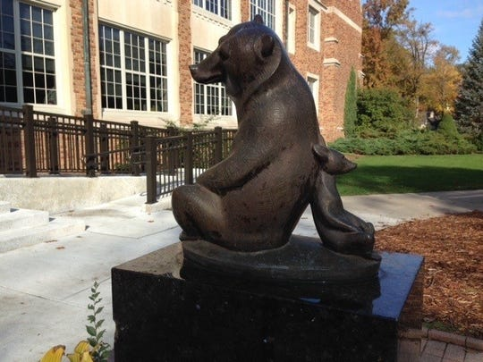 In 1967 the Marshall Fredericks Two Bears statue was placed in front of Quarton School. Frederick's five children attended the school.