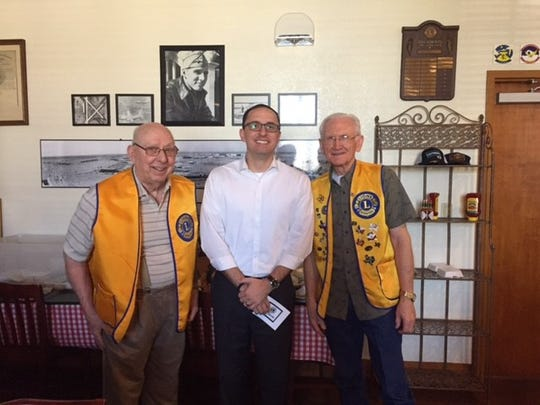 Blake White (center), senior pastor of Southside Baptist Church, meets with Abilene Founders Lions Club members Grady Dorsett (left) and Gene Goodwin (right) after speaking at the club's Oct. 26 meeting.