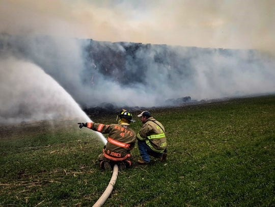 Firefighters respond to a brush fire in Chanceford