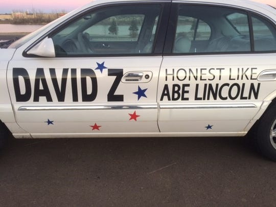 Mayoral candidate David Zokaites had an Abraham Lincoln-themed parade entry last week during the Parade of Lights.