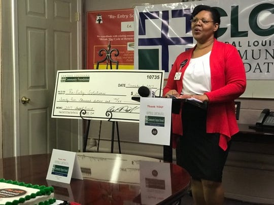 Candy Christophe, founder and director of Re-Entry Solutions, talks about the group will use a large grant from the Central Louisiana Community Foundation on Nov. 16.