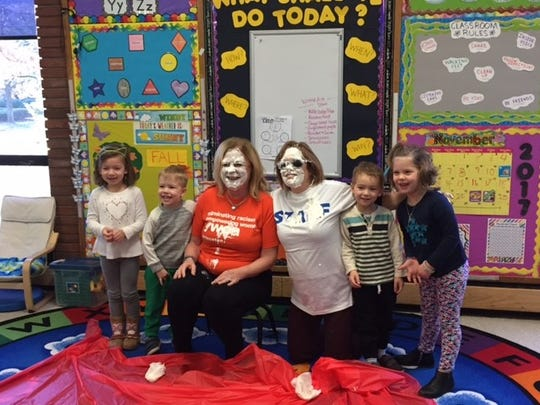 On Wednesday, Nov. 29, YWCA CEO Judy Hutton and Director of Advocacy and Development Director Nancy Faherty took a pie to the face from the Young Wonders Child Development children.