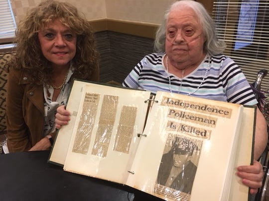 Barbara McInteer, right, is the daughter of Harold Pearce, who was killed in the line of duty in 1956 in Independence, Iowa. Karen Delaney is Pearce's granddaughter.