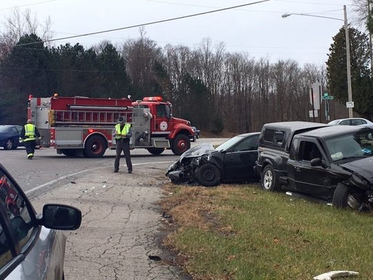 Two people were injured Tuesday afternoon in a two-vehicle