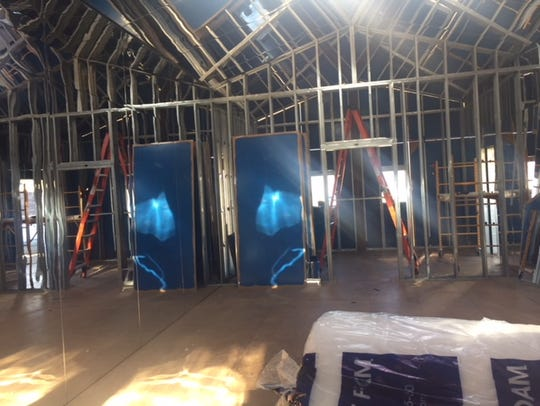 """The interior of """"Mirage"""" as it begins to come down"""
