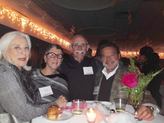 Elaine Borruso, Andrea Tama, Ely Tama, and Barry Howard enjoy the sumptuous food for provided by local restaurants for the guests at the Shop and Champagne event. Andrea Tama is an instructor at BBAC.