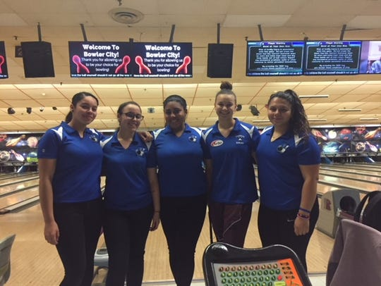 The 2017-18 Teaneck girls bowling team. From left: Shayna Jimenez, Mia Aish, Valeria Rosario, Margaux Lesser and Gianni Calzadilla.
