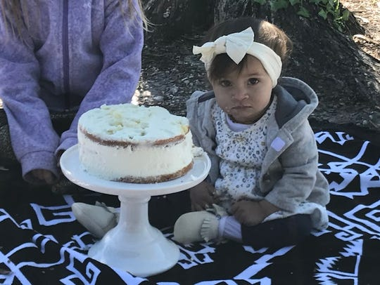 Marra Hassan-Teeters celebrated her first birthday at Lakes Regional Park on Sunday despite frosty temperatures.