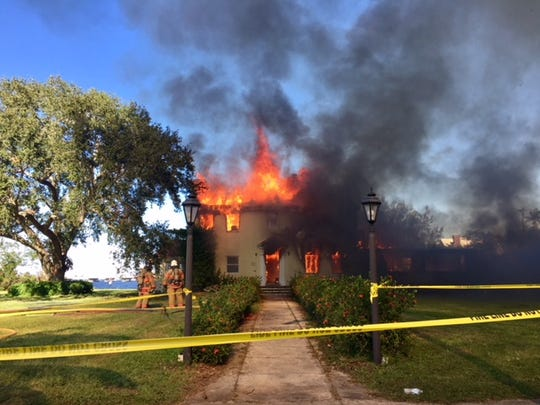 A home on Twin Palm Drive off McGregor Boulevard was used as a demonstration fire site for firefighters from the Iona-McGregor Fire District and the Fort Myers Fire Department on Sunday.