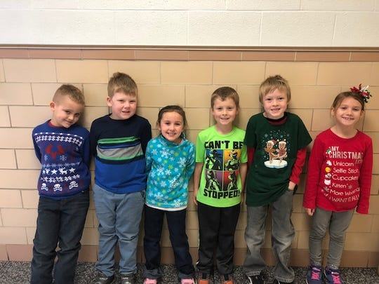 First graders honored are, from left, Everett Dusseau, Jaxon Kanary, Mia Eldred, Griffin Gahler, Phillip Dehring, and Payton Pohorecki.