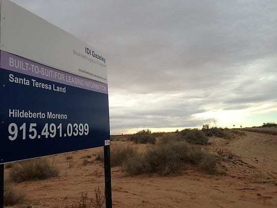 An IDI Logistics sign advertises land for lease in Santa Teresa. This is a portion of 3,400 acres of land bought by El Paso businessman Lane Gaddy and his investors group from IDI. Gaddy's group has already sold 1,200 acres of the land to a short-line railroad operator.