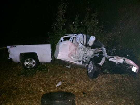 This white pickup truck was one of two vehicles involved