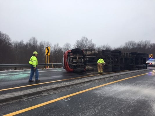 Truck overturns on I-71 ramp