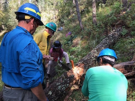 Smokey Bear District Ranger Jodie Canfield helps volunteers clear a trail in the forest.