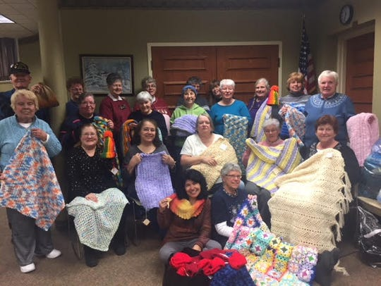 The Knifty Knitters meet twice a month at the Clyde