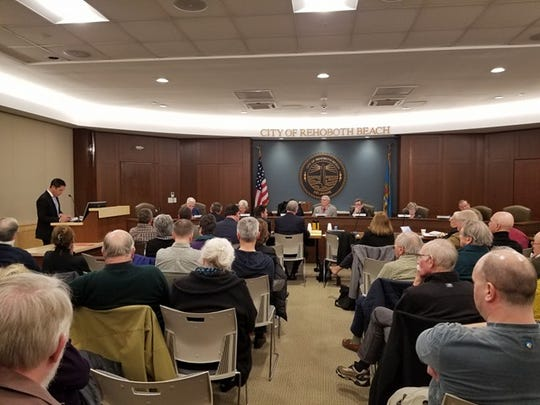 The meeting room was packed as the Rehoboth Beach Commission discussed the controversial BeachWalk development.