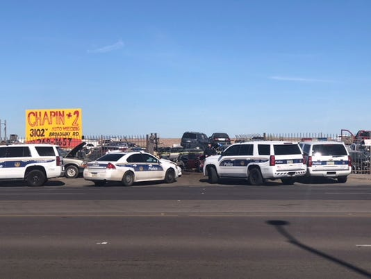 Shooting investigation at auto salvage yard