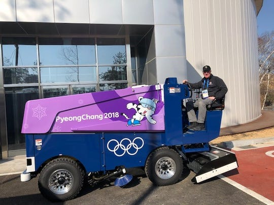 Joe Meierhofer behind the wheel of one of the zambonis that will be used for the 2018 Winter Olympics in PyeongChang, South Korea. Meierhofer retired as the facilities director for the Herb Brooks National Hockey Center in the summer.