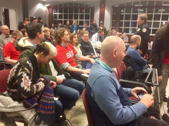 A Newport city meeting discussing syringe exchange drew a packed house on Feb. 12