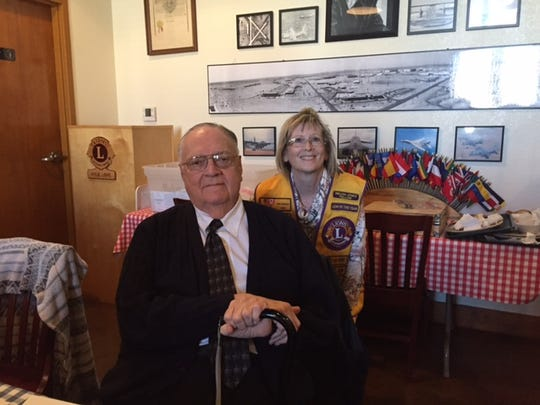 Abilene Founders Lions Club member Shara Eckard (right) introduced Paramount Theatre film historian and director Robert Holladay at the club's Jan. 18 meeting.