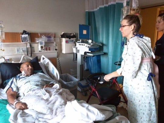 Melinda Ray visits Jeff Bramstedt at UCHealth University