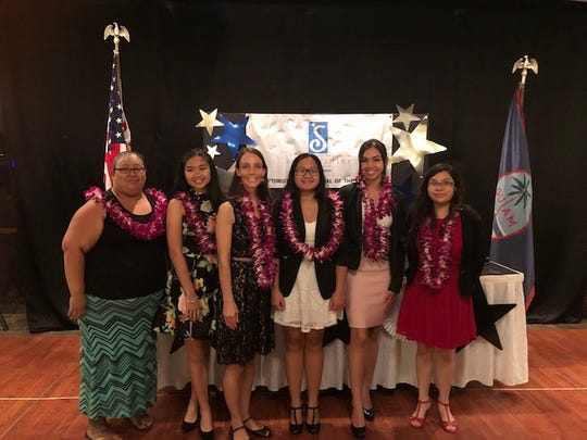 Soroptimist International of the Marianas awarded four students from Guam Community College with a collective total of $9,000 in scholarship money on Feb. 9 at the Pacific Star Resort. The four GCC students, along with a high school awardee and an organizational awardee, are, from left to right: Connie Evaristo (GCC), Angeline Francisco (High School Awardee), Stephanie Taylor (Harvest House – organizational awardee), Angel Mar Pamintuan (GCC), Cyndal Abad (GCC) and Samantha Bautista (GCC).