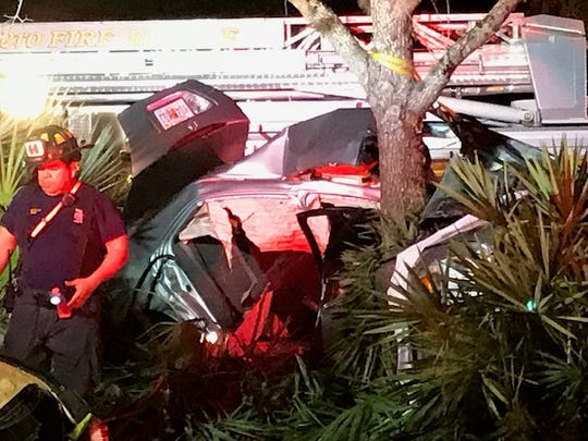 A one-car crash Feb. 24 along Corkscrew Road in Estero sent two people to the hospital. The driver, Benjamin Parry, 42, has been arrested for DUI and hit-and-run in the crash.