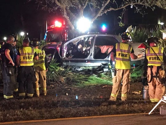 A one-car crash Feb. 24 along Corkscrew Road in Estero sent two people to the hospital.