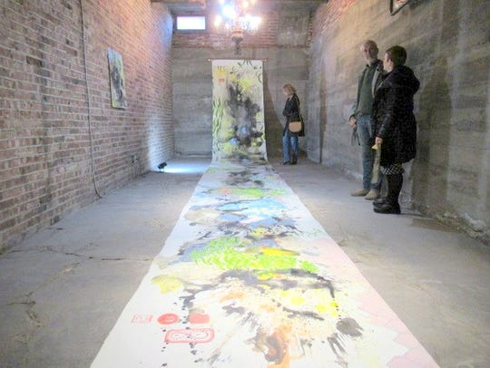 Elisabeth Condon's painted 30-foot rice paper scroll