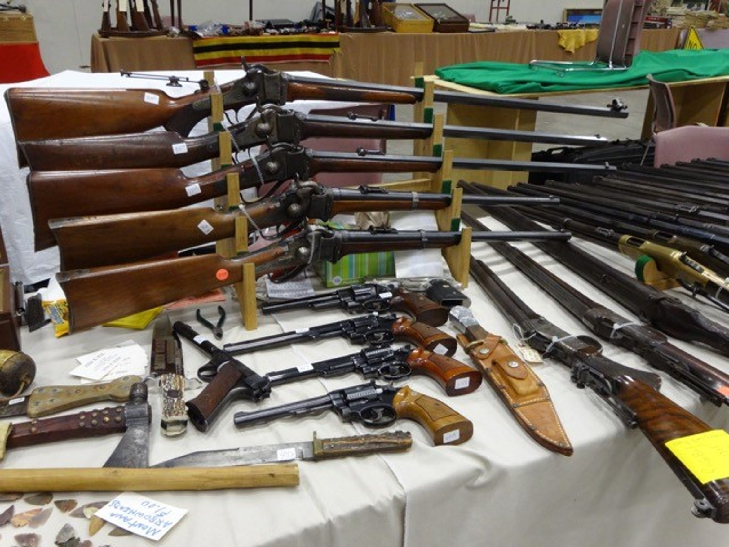 There are plenty of antique firearms on display at