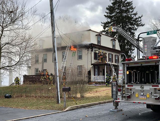 A fire at 2196 Walnut Street on Friday afternoon.