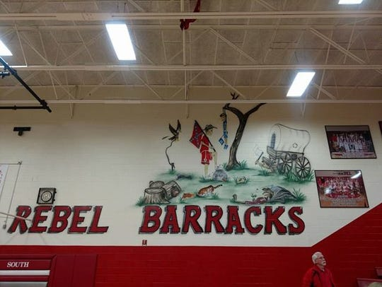 This mural in the gym at South Cumberland Elementary