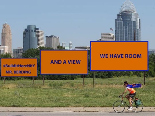A Northern Kentucky Chamber of Commerce illustration shared on Twitter shows a bicyclist wearing FC Cincinnati soccer club gear rolling by mock billboards advertising a possible Newport stadium site with a view of downtown Cincinnati.