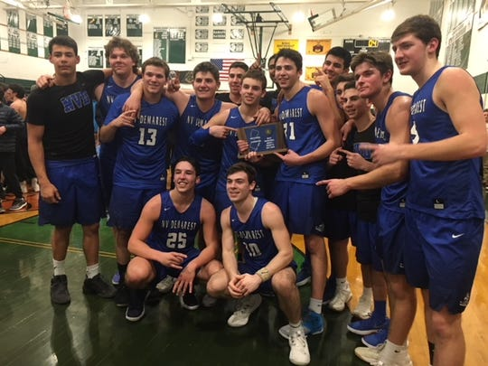 NV/Demarest boys basketball 2017-2018: standing (from left) Joseph Argenziano, Connor Scaglione, Drew Davis, Nick Argenziano, Isaac Olif-Lieberman, Zach Stimmel, Chris Neils, Jake Runyon, John DeCroce, Aidan O'Connor, Ben Alfano, Endrit Kaleci, Andrew Fulin; bottom: Joe Rotonde and Austin Albericci.