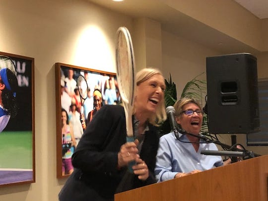 Tennis hall of famers Martina Navratilova (left) and Rosie Casals have fun during the live auction at the Annalee Thurston Award Reception at the Indian Wells Tennis Garden on Sunday, March 11, 2018.