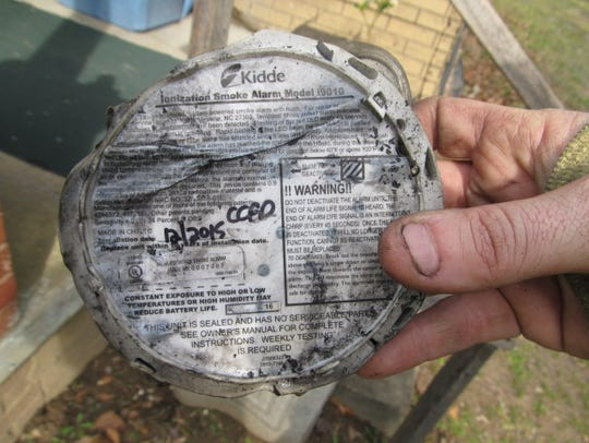 Although badly melted and damaged a smoke alarm installed