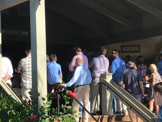 It was standing room only outside Sanibel Community Church on Sunday as Vice President Mike Pence attended Easter services.