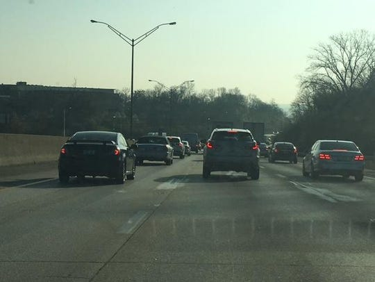Commuters heading toward Downtown on South I-75 during