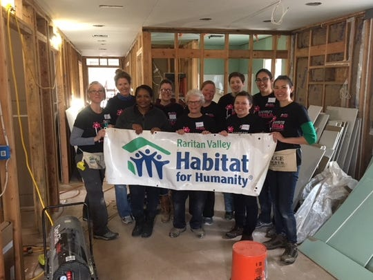The Bachelorette Reunion Build Crew gathered to raise funds, awareness and hope as they worked on the construction site of a future Raritan Valley Habitat for Humanity partner homeowner. Back row (from left): Susan Caime, Lucy Croft, Shannon Pak, Kate Mowll and Tina Permar; front row: Jody Routledge, Tonia-Sue Thomas, Victoria Mahmoud, Adria Wentzel and Lisa Craig.