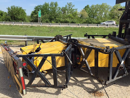 A Delaware Department of Transportation truck-mounted attenuator was struck by a vehicle on Del. 1 near Christiana Mall in May 2017. DelDOT officials say no workers were injured thanks to the use of this safety equipment.