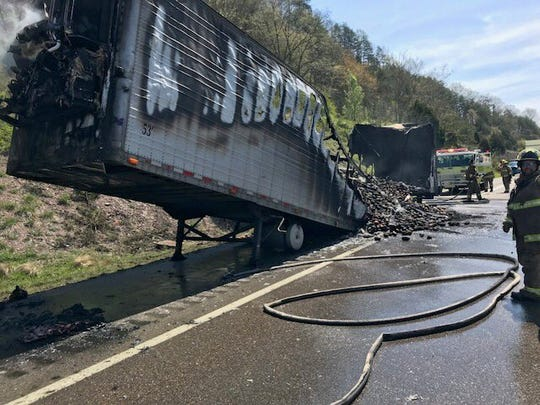 A tractor trailer caught fire on northbound Interstate 75 Friday afternoon, roasting the load of sweet potatoes it was carrying to a crisp.