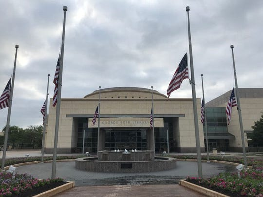 The flags at the George H.W. Bush Library and Museum in College Station, Texas were lowered to half-mast following the death of former First Lady Barbara Bush on April 17, 2018.
