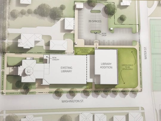 The library expansion plans show a new section where the current parking lot is. A former commercial lot on Water Street would become the new parking area.
