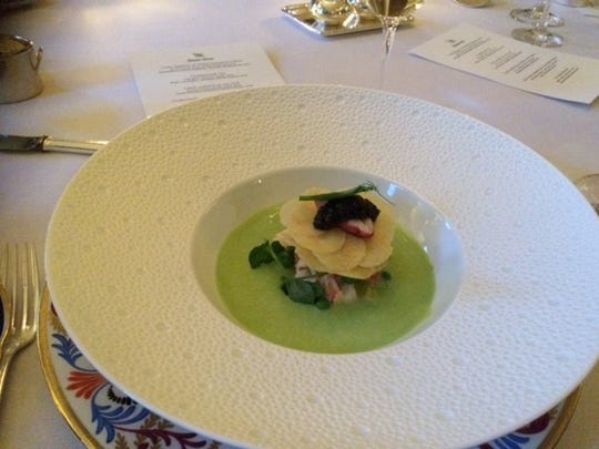 Pea soup with lobster Napoleon.