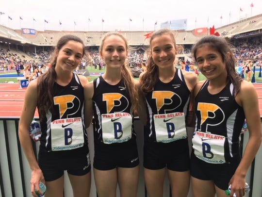Padua's 4 x 800 relay team of Lydia Olivere, Amber