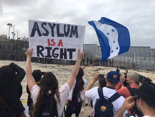 Migrant Caravan at the border of Tijuana and San Diego