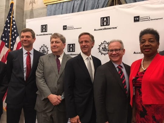 AllianceBernstein Chief Operating Officer Jim Gingrich, CEO Seth Bernstein, Gov. Bill Haslam, Mayor David Briley and state Rep. Brenda Gilmore attend AllianceBernstein's announcement May 2, 2018, that the global money management firm plans to move its headquarters and more than 1,000 jobs to Nashville in the coming years.