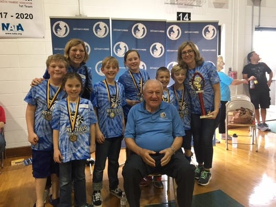 Members of the McKinley School team will advance to the Odyssey of the Mind World Finals in May, after competing in the 40th Annual New Jersey State Odyssey of the Mind Tournament on April 15. (Front L-R):  Christian Buonopane, Logan Welsh, Grace Matus.   (Back L-R):  James Foerst, coach Cara Foerst, Lincoln Meyers, Madeleine Smith, and coach Suzanne Welsh.